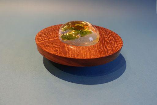 Borneo Teak mit Blattsilber+ Glasdeckel D = 13,5cm  H = 4 cm